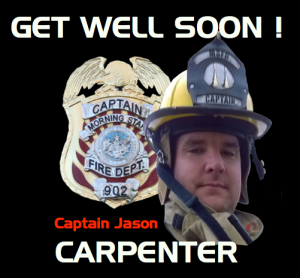 Morning Star Fire Captain Jason Carpenter was injured while working at the scene of a fire on George Street in Garland County last weekend. He suffered a non-life threatening injury and we look forward to seeing him back in action soon!